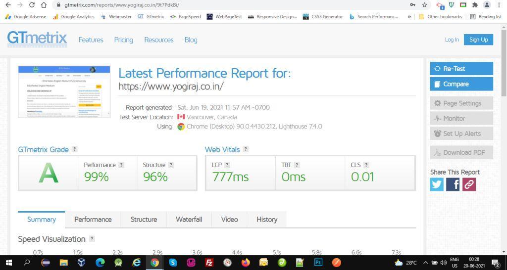 gtmetrix report of yogiraj.co.in in green A+ scores